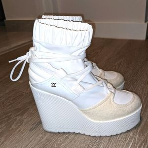 All white chanel wedge winter boots